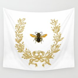 French Bee acorn wreath Wall Tapestry