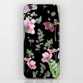 Spring flowers on black background iPhone Skin
