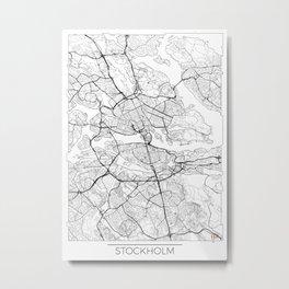 Stockholm Map White Metal Print