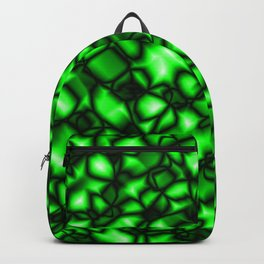 Bright bubbly herbal surface of glass spherical molecules on black metal.  Backpack
