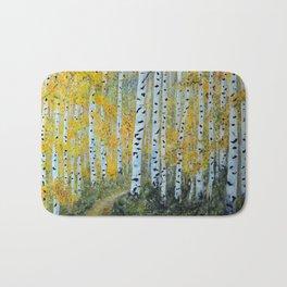 Birch Aspen Trees, Impressionism Landscape Painting, Autumn Colors Bath Mat