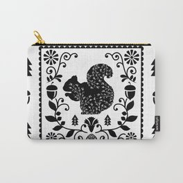 Woodland Folk Black And White Squirrel Tile Carry-All Pouch