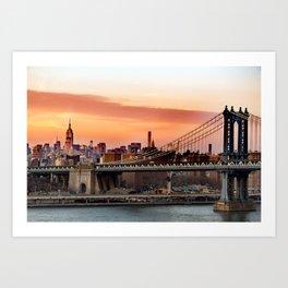 Manhattan Bridge at Sunset Art Print