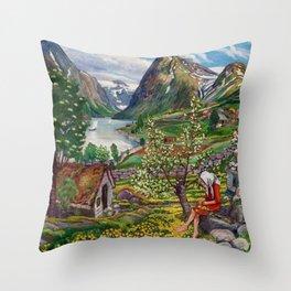 Alpine Lake Landscape, 'Girl, Springtime & Marigolds' by Nikolai Astrup Throw Pillow
