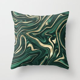 Emerald Green Black Gold Marble #1 #decor #art #society6 Throw Pillow