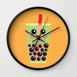Happy Pixel Bubble Tea Wall Clock