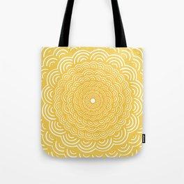 Spiral Mandala (Yellow Golden) Curve Round Rainbow Pattern Unique Minimalistic Vintage Zentangle Tote Bag