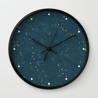 constellations Wall Clocks featuring Constellations by Little Holly Berry