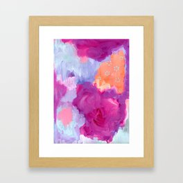 Red Lips and Rosy Cheeks, Magenta, Coral, Light Blue Abstract Art Framed Art Print