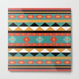Geometric Aztec Tribal Pattern - in amethyst, sienna, orange and purple Metal Print