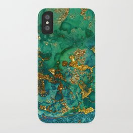 Malachite and Gold Glitter Stone Ink Abstract Gem Glamour Marble iPhone Case