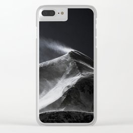 Snow Blowing Off A Mountain Clear iPhone Case