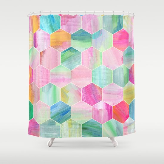 Pretty Pastel Hexagon Pattern in Oil Paint Shower Curtain