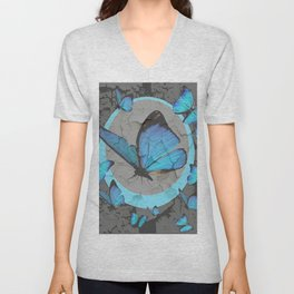 SHABBY CHIC  NEON BLUE BUTTERFLIES  & CHARCOAL GREY  N MOD Unisex V-Neck