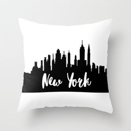 New York City Skyline SilhouetteTypography Throw Pillow