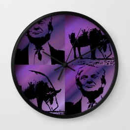 Trump with Pig purple Wall Clock