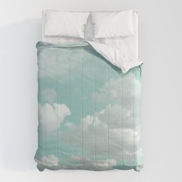 Clouds in a Mint Sky Comforters