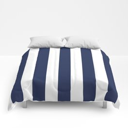 Space cadet blue - solid color - white vertical lines pattern Comforters