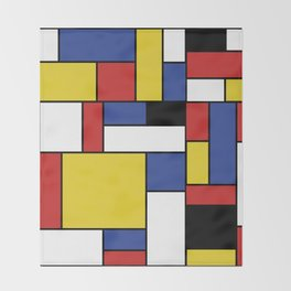 Mondrian Geometric Art Throw Blanket