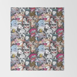 Dog On Collage Throw Blanket