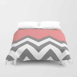 CORAL COLORBLOCK CHEVRON Duvet Cover