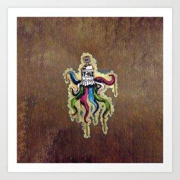 Wood Graffiti Octopus Art Print