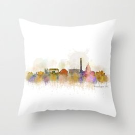 Washington City Skyline Throw Pillow