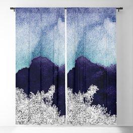 Silver foil on blue indigo paint Blackout Curtain