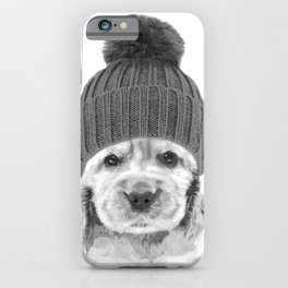 Black and White Cocker Spaniel iPhone Case