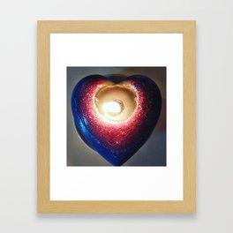 Love 1 _ burning candle heart _ blu, purple, Red _ light candles Framed Art Print