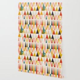 geometric mid century triangle christmas trees with snow flakes Wallpaper