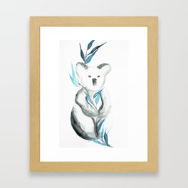 Koala baby, eucalyptus leaves Framed Art Print