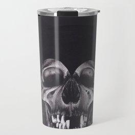 Original Charcoal Drawing of Skull Wearing a Cat Mask Travel Mug