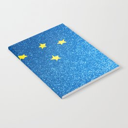 Sky with moon and stars over blue background Notebook
