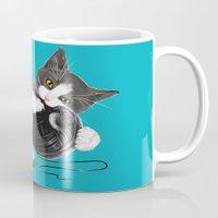 death star Mugs featuring Death Star Kity by Olechka