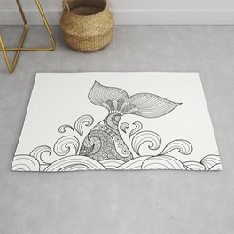 Whale Tail Style - Sea World and Ocean Zentangle Animal Design Rug