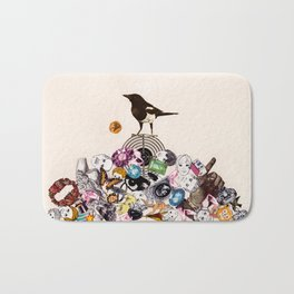 Magpie collector collage Bath Mat