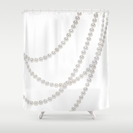 White Pearls Shower Curtain