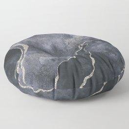 Elegant Grey Gemstone Glamour Mineral Marble Floor Pillow