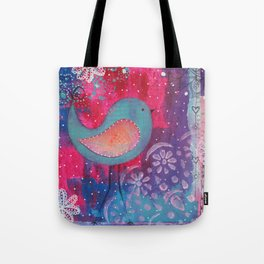 Whimsical Bird Mixed Media Tote Bag