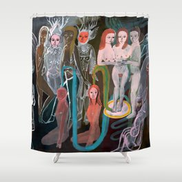 Swimming in the Spirit World Shower Curtain