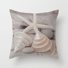Beach Still Life With Shells And Starfish Throw Pillow