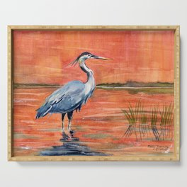 Great Blue Heron in Marsh Serving Tray