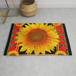 RED-TEAL BLACK  DECO YELLOW SUNFLOWERS Rug