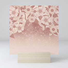 Chic Pink Rose Gold Floral Drawing Glitter Ombre Mini Art Print