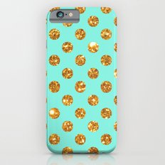 Chic Gold Glitter Polka Dots Pattern On Turquoise Slim Case iPhone 6