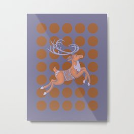 Flying Reindeer Metal Print