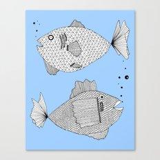 Two Fish Blue Fish Canvas Print
