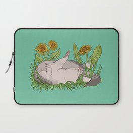 Sleeping Ferret with Dandelions and Grass Laptop Sleeve