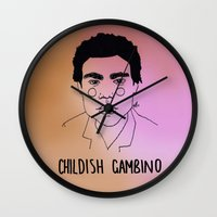 childish gambino Wall Clocks featuring Childish Gambino by ☿ cactei ☿